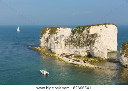 Coast at Studland Dorset towards the chalk stack rock formations Old Harry Rocks Isle of Purbeck
