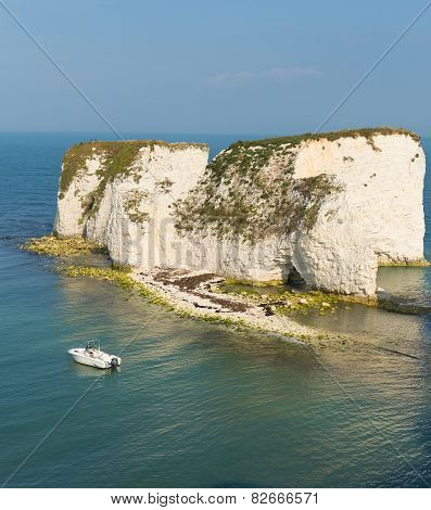 Chalk stack rock formations Old Harry Rocks Isle of Purbeck in Dorset south England UK