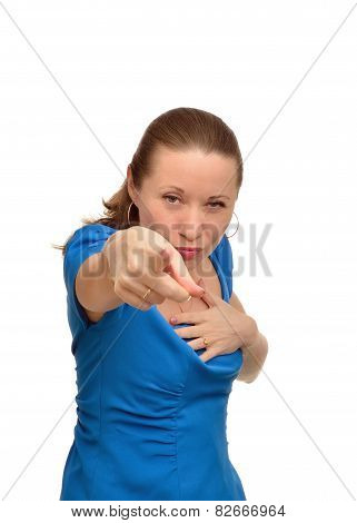 Angry woman shows forefinger