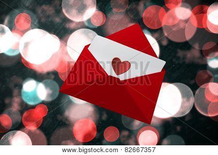 Love letter against digitally generated twinkling light design