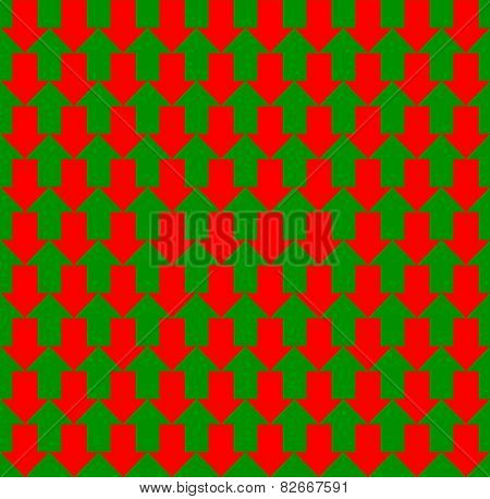 Red and green arrows pointing to opposite directions, up and down, a seamless pattern