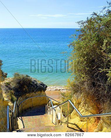 Steps down to Armacao De Pera Beach on the Algarve