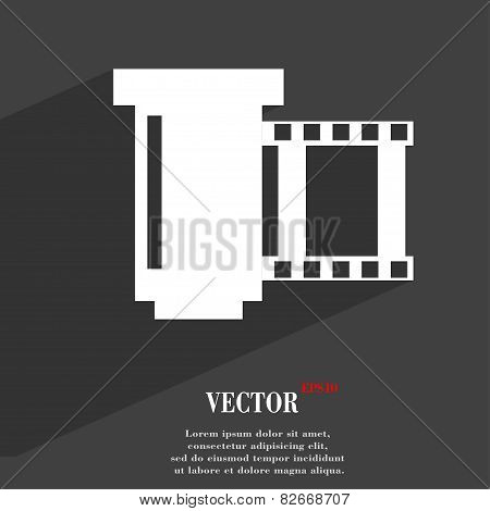 Negative Films Icon Symbol Flat Modern Web Design With Long Shadow And Space For Your Text. Vector