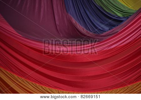 Segment Of Folded Parachute Fabric In Beautiful Colors