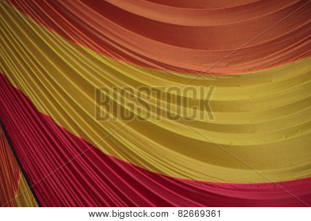 Segment Of Folded Parachute Fabric In Three Colors