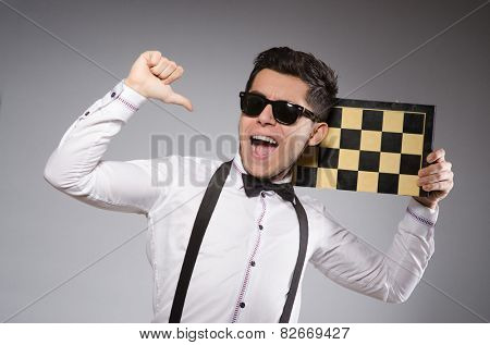 Funny chess player with board