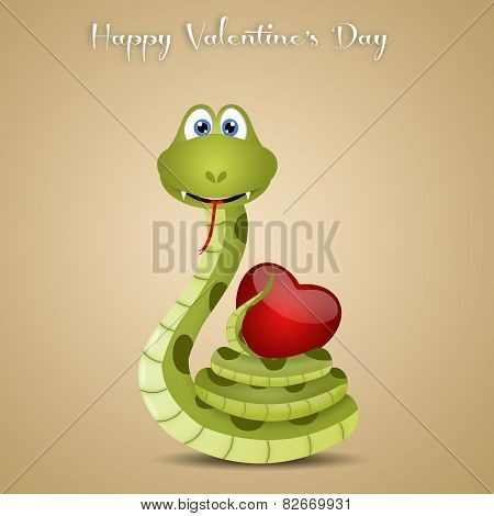 Funny Snake With Heart For Valentine's Day