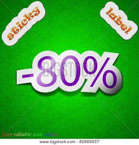 80 Percent Discount Icon Sign. Symbol Chic Colored Sticky Label On Green Background. Vector