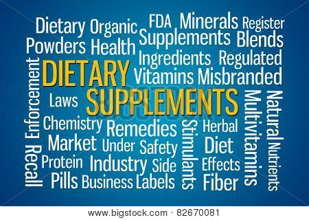Dietary Supplements word cloud on blue background