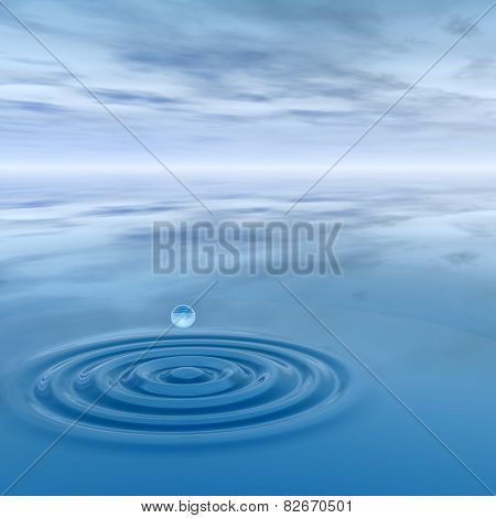 Conceptual blue liquid drop falling in water with ripples and waves with sky background
