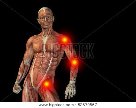 Conceptual human man anatomy upper body or health design, joint or articular pain, ache or injury on black background for medical, fitness, medicine, bone, care, hurt, osteoporosis, painful, arthritis
