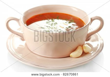 Ukrainian beetroot soup - borscht, isolated on white