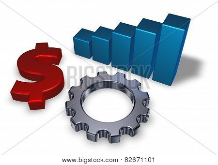 Dollar Symbol And Gear Wheel