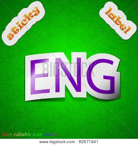 English Icon Sign. Symbol Chic Colored Sticky Label On Green Background. Vector