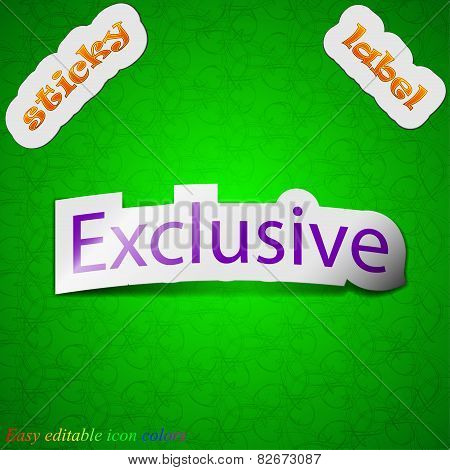 Exclusive Icon Sign. Symbol Chic Colored Sticky Label On Green Background. Vector