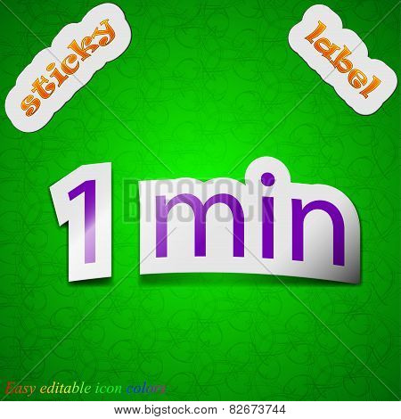 One Minutes Icon Sign. Symbol Chic Colored Sticky Label On Green Background. Vector