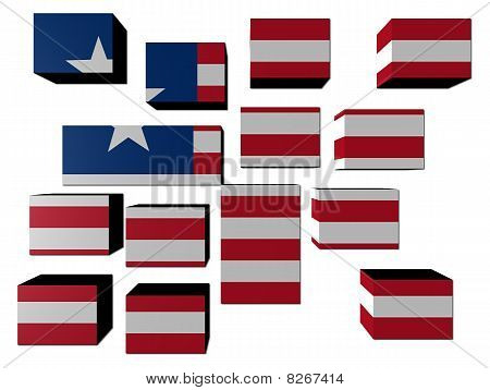Liberia Flag On Cubes Illustration