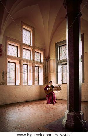 Frau Gitarre in Burg Malbork (Marienburg) spielen.