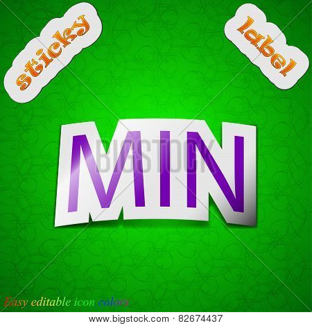 Minimum Icon Sign. Symbol Chic Colored Sticky Label On Green Background. Vector