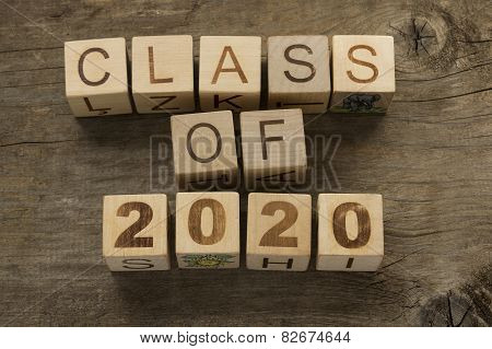 Text Class of 2020 on a wooden background