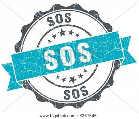 Sos Vintage Turquoise Seal Isolated On White
