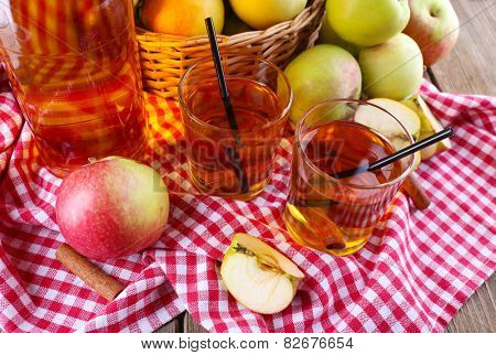 still life with apple cider and fresh apples