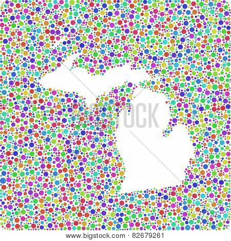 Decorative map of Michigan -USA-