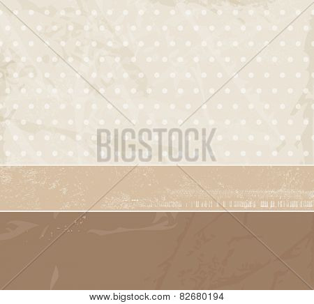 Beige background texture with soft polka dots and banner in retro style