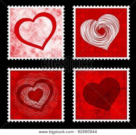 valentines stamps - vector