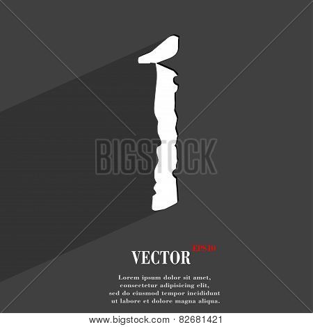 Number One Icon Symbol Flat Modern Web Design With Long Shadow And Space For Your Text. Vector