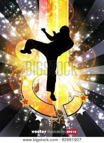 Illustration of karate warrior