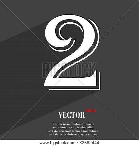 Number Two Icon Symbol Flat Modern Web Design With Long Shadow And Space For Your Text. Vector
