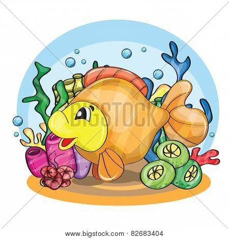 Illustration of a happy goldfish