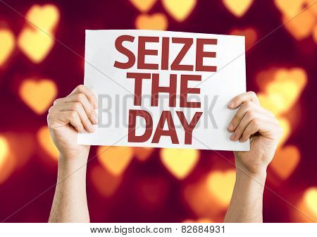 Seize the Day card with heart bokeh background
