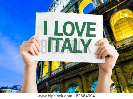 I Love Italy card with Coliseum background