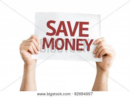 Save Money card isolated on white background