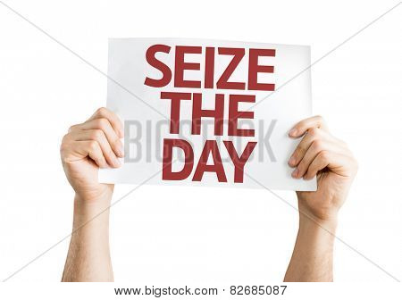 Seize the Day card isolated on white background
