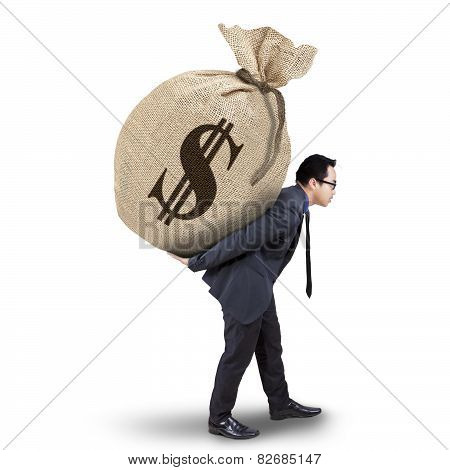 Male Entrepreneur Carrying Money Sack