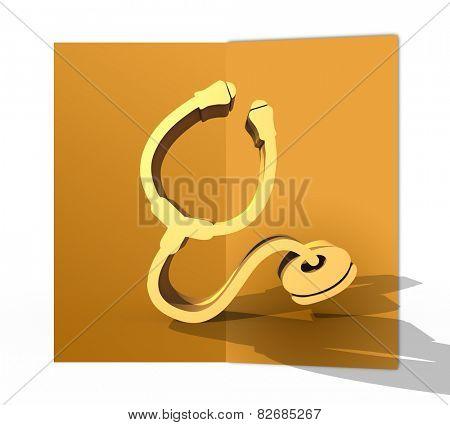 Orange folded card with stethoscope symbol