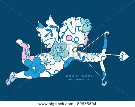 Vector blue and pink kimono blossoms shooting cupid silhouette frame pattern invitation greeting car