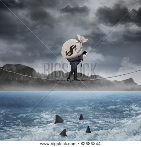Manager Carry A Money Sack Above The Sea