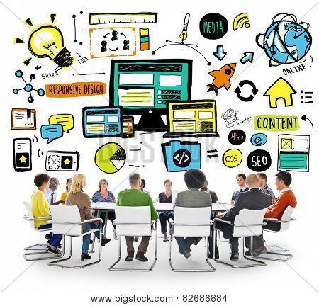Diversity Casual People Responsive Design Teamwork Brainstorming Concept