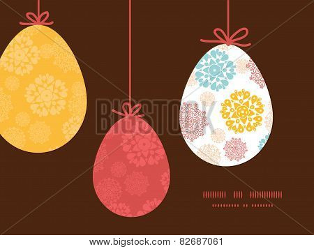 Vector abstract decorative circles stars hanging Easter eggs ornaments sillhouettes frame card templ