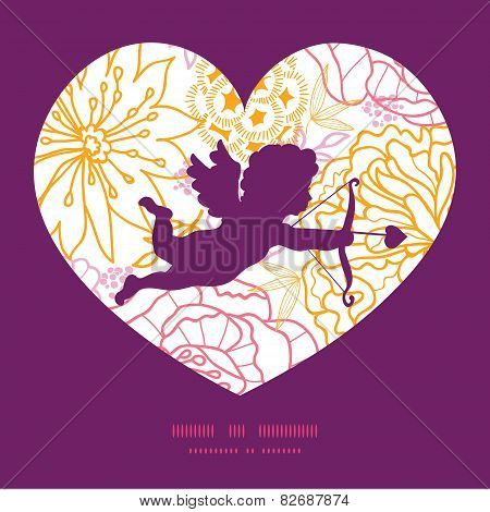 Vector flowers outlined shooting cupid silhouette frame pattern invitation greeting card template