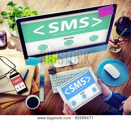 SMS Messaging Text Internet Communication Networking Concept