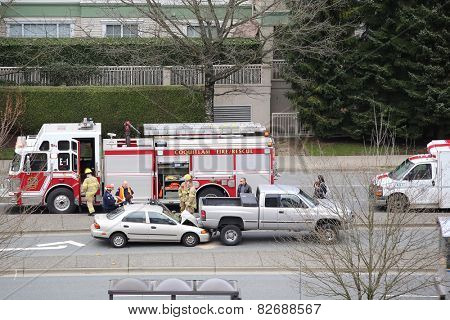 .Coquitlam BC Canada - February 11, 2015 : Top shot of the scene of two cars accident happened in afternoon in Coquitlam BC Canada.