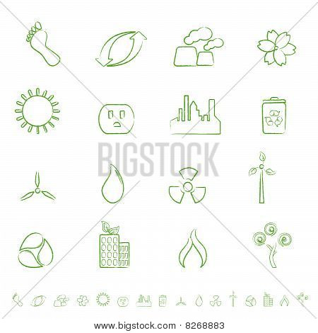 Eco and environment green icon set