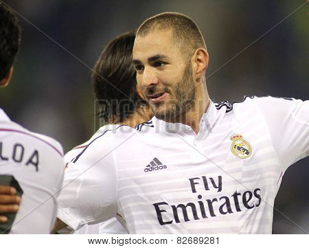 BARCELONA - OCT, 29: Karim Benzema of Real Madrid in action during the Spanish Kings Cup match against UE Cornella at the Estadi Cornella on October 29, 2014 in Barcelona, Spain