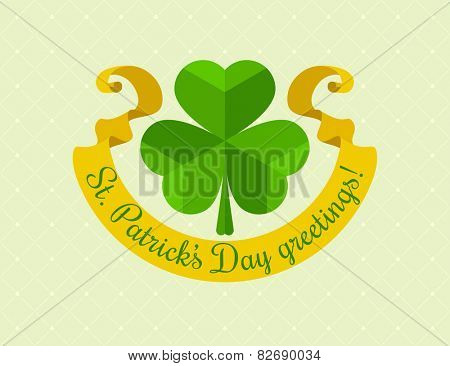 Shamrock symbol for saint patricks day with ribbon. Eps10 vector illustration