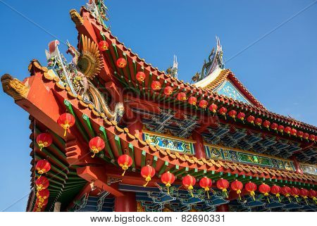 Architectural details of the roof structures of the Thean Hou temple in Kuala Lumpur, Malaysia.